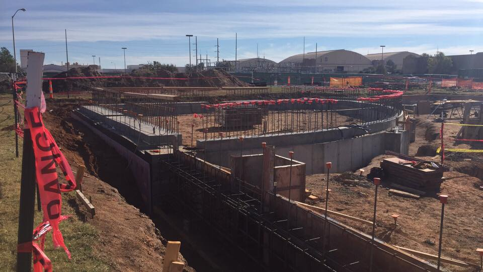 construction site getting ready for concrete pouring