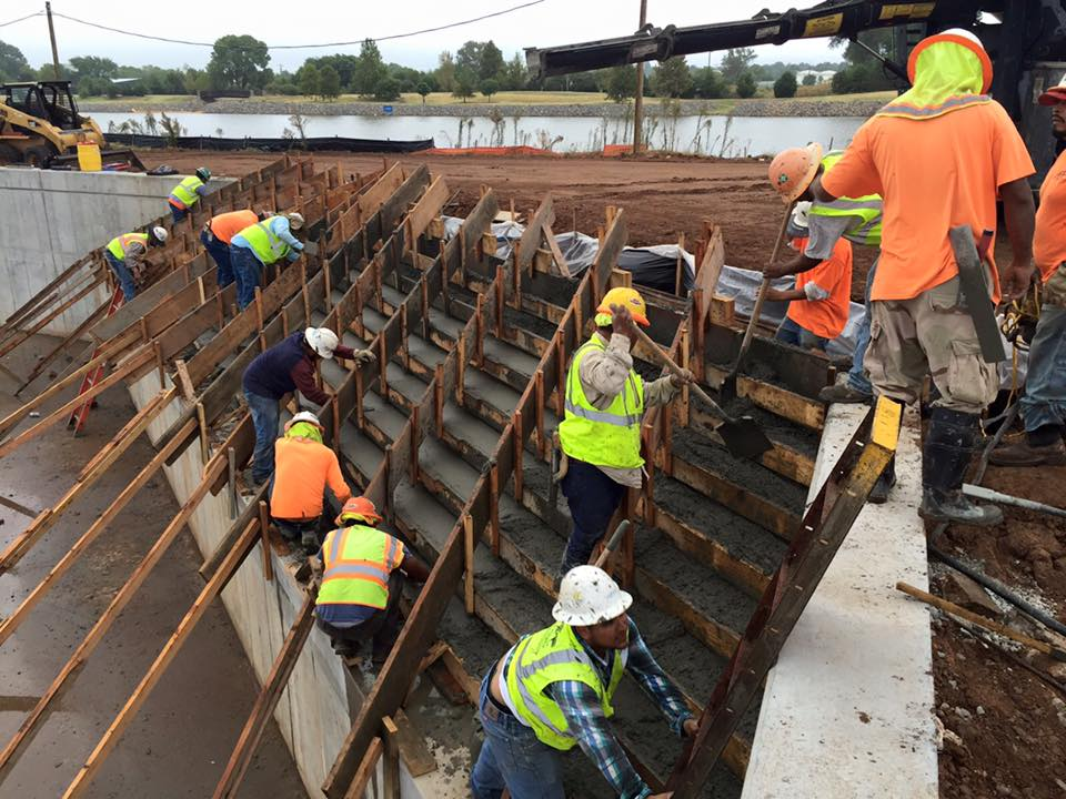 construction of entry steps in channel Riversport Rapids Whitewater Rafting and Kayak Center